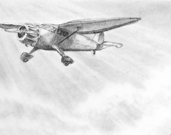Original ACEO, charcoal drawing, original artwork, miniature art, airplane sketch, airplane illustration, black white, artist trading cards