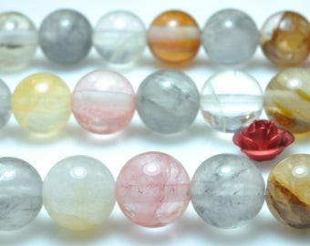47 pcs of Natural Mixed Quartz smooth round beads in 8mm