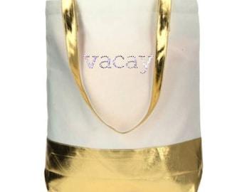 Swarovski Crystal Metallic Block Tote - Personalized Bag - Travel Tote Bag - Carry On - Shoulder Bag - Gift for her