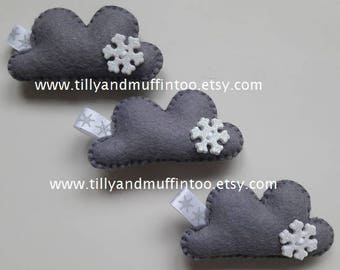 Felt Cloud Magnet.Cloud Magnet.Snowflake Magnet.Felt Cloud.Kawaii Cloud.Kawaii Magnet.Teacher Gift.Stocking Stuffer.