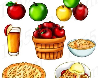 green and red apples clipart. 50% off apple treats fruit clipart, invitations, party, scrapbooking, red, green and red apples clipart