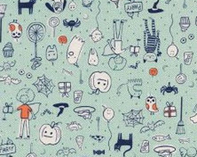 Party in Mint- Lil' Monsters by Cotton and Steel- Holiday Fabric