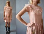 RESERVED / 1920s Dress / 20s Linen Dress / Pink Linen Dress / Embroidered 1920s Dress / Pink 20s Dress Small