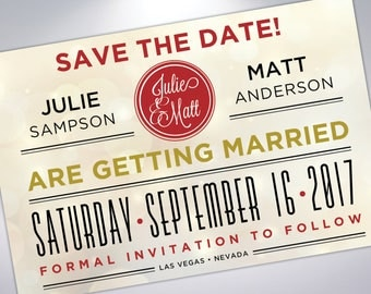 Las Vegas Save The Date Postcard | Engagement Announcement | Printable | Digital | Wedding Announcement with Calendar | Custom Postcards