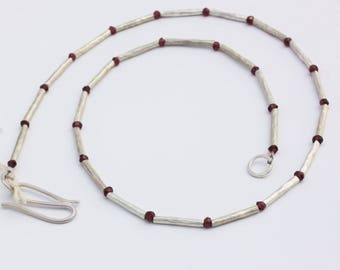 Faceted Garnet and Silver Twiggy Tube Necklace