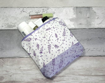Make-up, cosmetic, lavender, purse, bag, pouch, fabric toiletries, flowers, botanicals, nature, designer fabric , purple