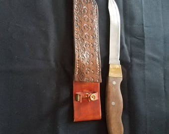 Hand forged knife and sheath