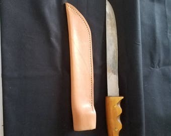 Hand forged knife with hand made leather sheath