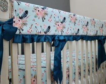 Boho Floral and Arrow Minky with Aqua Background and Ice Pink Rose Swirl Minky with Teal Satin - Reversible Rail Guard Cover - Crib Bedding