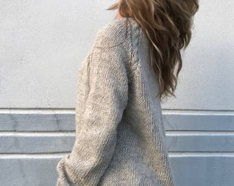 Oversized sweater Taupe sweater Oatmeal sweater Women's sweater Alpaca sweater Plus size sweater Made to order
