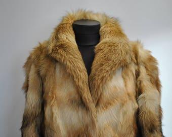 Vintage FOX FUR COAT , winter women's fur coat.............(577)