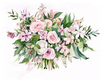 ORIGINAL Custom Bridal Bouquet Painting in Watercolor. Wedding anniversary gift. Botanical painting. Valentine's day idea