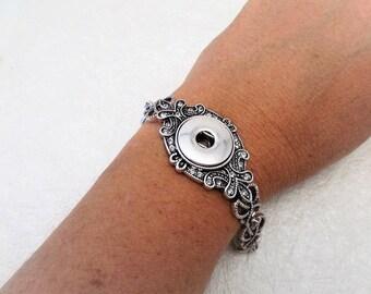 Fancy Vintage  Snap Jewelry Bracelet  Armband Bracelet Snap Chunk Bracelet  Fits Noosa and Gingersnaps