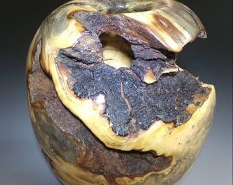 Wood Turned Hollow Form with Bark Inclusions, Buckeye Burl, 2017-15