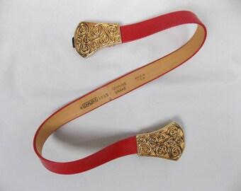 Vintage Red Snakeskin Belt with Gold Buckle