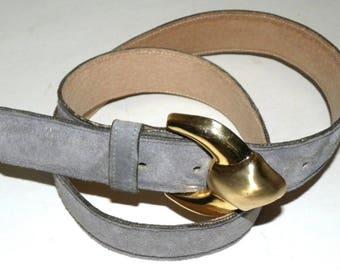 1980s 80s ANNE KLEIN Gray SUEDE Belt / Calderon Dove Gray / Vintage size M
