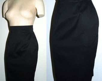1980s PATRICK KELLY Black Pencil Skirt  / Made in Paris Wiggle skirt / Fitted Luxe DESIGNER / Vintage 80s  / S