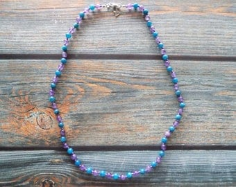 """22"""" Rising Out of Sorrow Healing Gemstone Necklace Knotted on Nylon with Sterling Silver, Healing Crystals, Infused with Intention"""