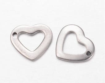304 Stainless Steel Small Heart Charms