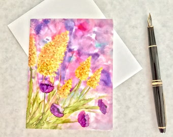 Note card. Art card. Greeting card. Print of original alcohol ink art. Garden Party III.