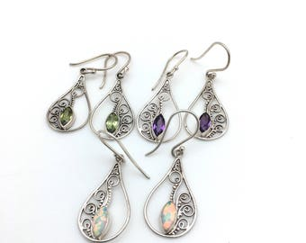 Sterling Silver Bali Earrings with Marquis-shaped Semi-precious Stones