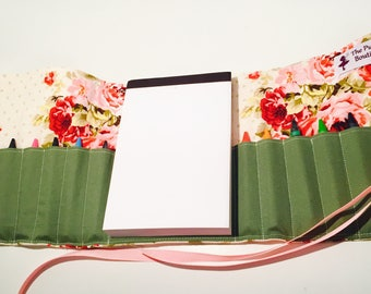 Vintage Floral Crayon roll with Doodle pad