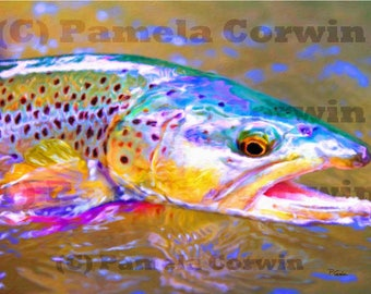 colorful brown trout painting print on canvas: fly fishing bold colored trout art, trout on canvas, brown trout art, trout decor, fish art