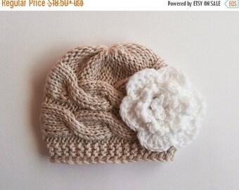 SALE 10% DISCOUNT Newborn Baby Girl Hat , Baby Hat Photo Prop , Knit Baby Hat , Crochet Flower Hat ,Photo Prop