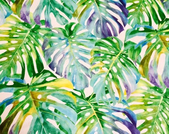 TROPICAL LEAVES 2 Palm Leaf Fabric Curtain Upholstery Cotton Material 280cm Extra Wide