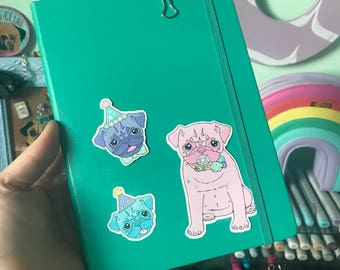 Pug sticker pack, Pug stationery, dummy pug sticker set, journal, bujo sticker, diary sticker, planner sticker, pug planner, pug,sticker set