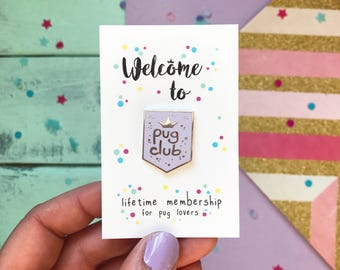 Pug pin, pug, pug gifts, Pug Club lapel pin, pug gift, pug brooch, pug pin, enamel pin, pastel pin badge, purple pug pin