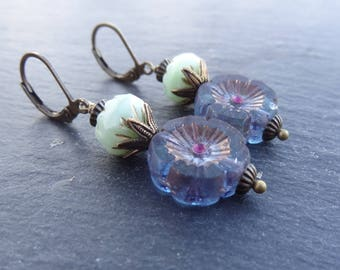 Blue/purple Hawaiian Flower Earrings