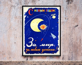 Reprint of a Russian Space Propaganda Poster