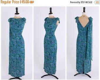 ON SALE Vintage original 1950s 50s floral chiffon column dress by Daree UK 8 Us 4 Xs S