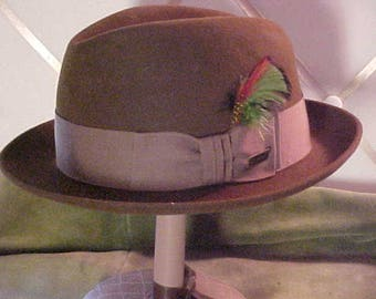 Vinage Brown Dobbs Felt Hat With Feathers in Band and Dobbs Pin at side  #2275