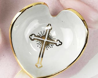 Cross Design Heart Ring Dish with Initials, Baptism, Wedding Date, Name, or Message