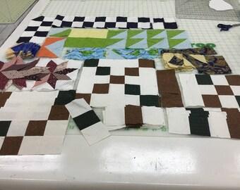 Lot Of Quilt Blocks Pieces Fabric Scraps