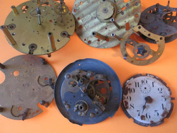 7 Piece Lot of Antique Solid Brass and Steel Clock Frames and Parts for your Clock Projects,  Steampunk Art