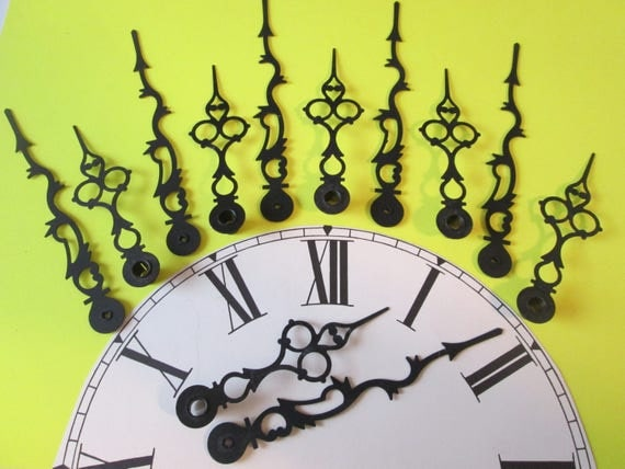 """6 Pairs of Large 5 1/8"""" and 3 3/4"""" Vintage Black Serpentine/Gothic Design Clock Hands for your Clock Projects, Jewelry Crafts, Steampunk Art"""