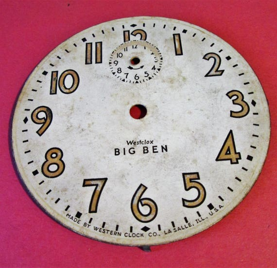"Vintage Paper on Steel Backing 4"" Westclox Big Ben Alarm Clock Dial for your Clock Projects, Steampunk Art & Etc.."