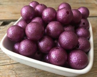 20mm Dark Purple Wrinkle Chunky Bead, Halloween Bubblegum Bead, Acrylic Bead, DIY Chunky Necklace, 10 Count