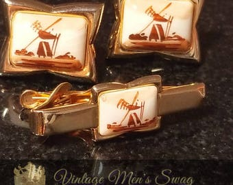 Vintage Swank cufflinks and tie tack Arts of the World Delft brown and white handpainted windmill scene original box xj-1/abe-1
