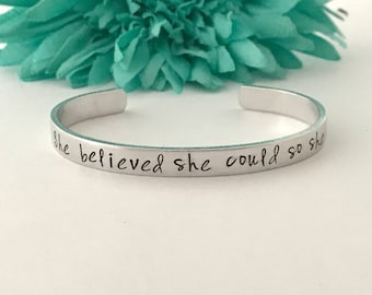 She believed she could, so she did bracelet inspirational hand stamped - graduation, gift, for her, work hard , goals, gift for her
