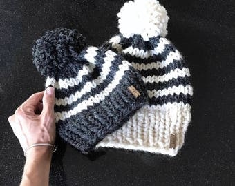Chunky Knit Striped Mommy + Me Hat Set with  Pom | Charcoal/Fisherman | THE BANDA