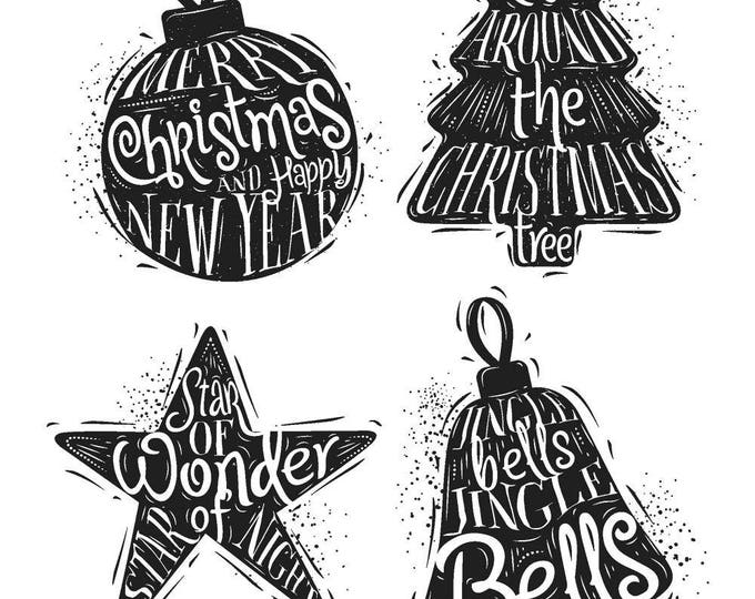 Tim Holtz CARVED CHRISTMAS #2 Holiday Christmas Cling-Mount Rubber Stamp Set by Stampers Anonymous CMS314