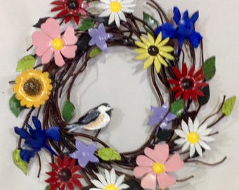 Metal Flower Wreath door size