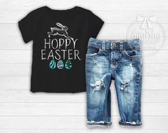 Hoppy Easter Shirt, Boy Easter Shirt, Baby Boy Easter Shirt, Boy Easter Top ANY SIZE Bodysuit or Shirt, Easter Bodysuit, Trendy Easter Shirt
