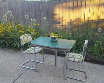 SALE-NO Chairs-Refurbished 1950's Green Geometric Motif Retro Formica® Half Table on Chrome Base; Mid Century Kitchen Table
