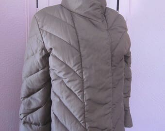 BILL BLASS Cocoa Brown Down-Filled Puffer Coat from the 1980s, Size 8 - 10
