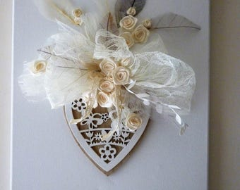 painting canvas, wood leaves organza heart: happiness